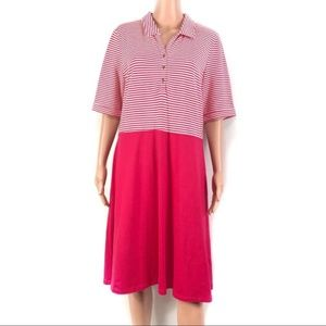 Land's End Women's Pink Striped Dress